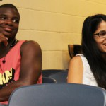 Incoming CLSC student Malik Bradford and current CLSC student Melinda Zerbe at UD's CLSC orientation last week.