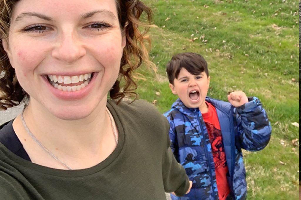 Brynn Fallah and her son Thomas practice outdoor social distancing amid the coronavirus pandemic