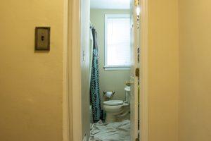 Narrow doorframe of the home of Christine Hoag