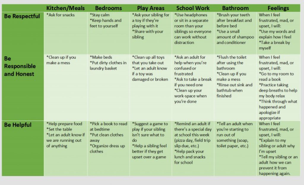"An example of a home matrix from Fallah's colleague is a table with rows of expectations matched up with activities in columns. Some expectations listed here are ""Be Respectful"" and ""Be Helpful"" with activities ranging from kitchen, mealtimes and schoolwork and concepts such as feelings."